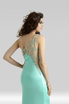 Clarisse 2014 Black Royal Blue Aqua Ice Papaya Raspberry One Shoulder Stretch Jersey Beaded and Sequin Sheer Prom Dress 2381   Promgirl.net