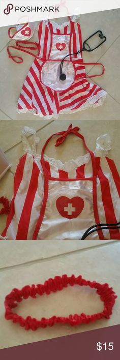 Very sexy candy stripe nurse costume Very sexy candy stripe nurse costume, size 9jr, or small ladies, a few holes in the hat due to bobby pins.(dress, apon, garter,hat) Other