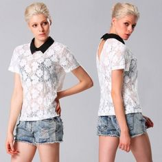 Stylish Lady Elegant Womens Casual New Fashion Lace Floral Short Sleeve Lapel Tops Shirt Blouse White