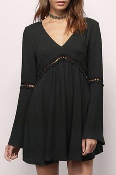 V-Neck Bell Sleeve Hollow Out Dress