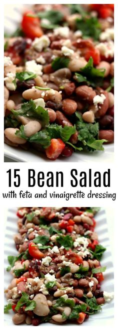 15 Bean Salad --a variety of dried beans are cooked in your electric pressure cooker or slow cooker and then stirred together with a red wine vinaigrette dressing, red bell pepper, feta cheese and cilantro. This salad serves a crowd and is perfect for a potluck or picnic. #instantpot #instapot #slowcooker #crockpot