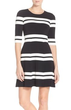 Black and White Stripe Sweater Fit & Flare Dress