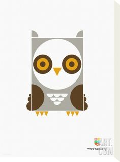 Ollie the Owl Stretched Canvas Print by Wee Society at Art.co.uk