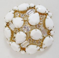 Alice Caviness Signed Facet Cut Cabochons and Rhinestone Brooch 526 | eBay