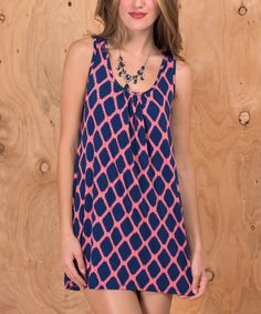 This Purple & Pink Ikat Scoop Neck Dress is perfect! #zulilyfinds