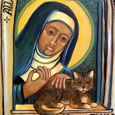The fullness of joy is to behold God in everything. — Julian of Norwich Image courtesy of the artist, Virginia Wieringa - Busted Halo Catholic Art, Catholic Saints, Religious Images, Religious Art, Patron Saint Of Cats, Julian Of Norwich, Art Grants, Spirited Art, Orthodox Icons