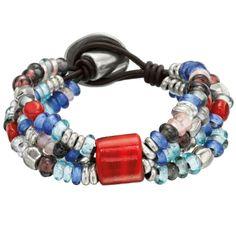 """Pulsera """"Colorete"""" de Uno de 50, pulsera con tres cordones de cuero con cuentas de cristales de colores y metal bañado en plata, unidos por un gran cristal de Murano"""