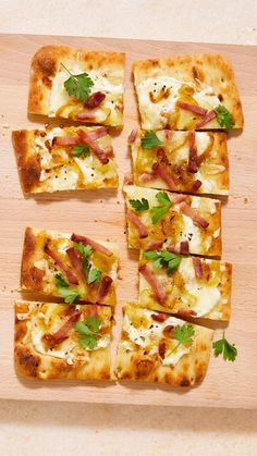 Inspired by the classic tarte flambee from Alsace and by that northern French region's love for pairing ham with cheese, here's an easy appetizer with wide appeal. It's also a great way to use up leftover ham. Breakfast Lunch Dinner, Dessert For Dinner, Side Dish Recipes, Pork Recipes, Quick Recipes, Yummy Recipes, Leftover Ham, Tea Sandwiches