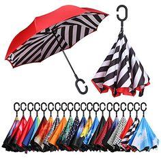 Reverse Inverted Windproof Tennis Racket Crown Wreath Laurel Winner Sport Umbrella Upside Down Umbrellas with C-Shaped Handle for Women and Men Double Layer Folding Umbrella