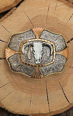 Crumrine Silver Scroll with Gold and Copper Details and Steer Skull Center Fashion Belt Buckle | Cavender's