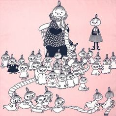 ◉◡◉ Writer and artist Tove Jansson come from Finland ◉◡◉ - Finland is country between Sweden and Russia ◉◡◉ ◉◡◉ ◉◡◉ in finnish this pictures characters are: (mother and children) Big Mymmeli, Mymmeli, Little My and little sisters and brothers ◉◡◉ Tove Jansson, Les Moomins, Moomin Valley, Little Brothers, Children's Book Illustration, Totoro, Belle Photo, Illustrations Posters, Character Design