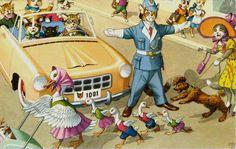 Eugene Hartung Mainzer Dressed Cats Police Ducks Crossing Road Vintage Postcard | eBay