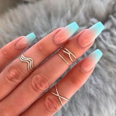 11 Ombré Nude to blue nail art designs - nails - Hair and Beauty eye makeup Ideas To Try - Nail Art Design Ideas Ombre Nail Designs, Colorful Nail Designs, Acrylic Nail Designs, Nail Art Designs, Acrylic Art, Summer Acrylic Nails, Best Acrylic Nails, Summer Nails, Nails Summer Colors