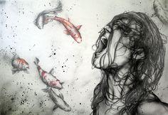 Emila Sirakova, Rebellion der Träumer, 2012, 100x70, pastel on layers of oiled paper