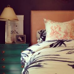 Meredith Heron Design  Master Bedroom  Navy & Coral  Kelly Green  Leigh Viner  Handpainted Fabrics