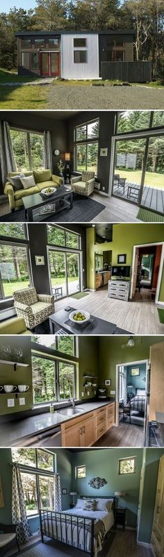 The Northwest prefab home from IdeaBox sq ft) Design Interior Small House Little Houses, Tiny Houses, Dog Houses, Interior Design Minimalist, Design Interior, Casas Containers, Tiny House Nation, Tiny House Movement, Tiny Spaces