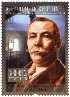Sr Arthur Conan Doyle (1859-1930).  Post stamp from République de Guinée, circa 2010