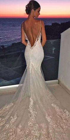 27 Mermaid Wedding Dresses You Admire ❤ mermaid wedding dresses lace low back spaghetti straps with train enzoani ❤ See more: http://www.weddingforward.com/mermaid-wedding-dresses/ #weddingforward #wedding #bride #bridalgown