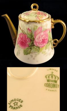 Limoges Roses Hand Painted Teapot