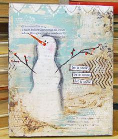 #mixedmedia #primsnowman Mixed Media Original Art Let It Snow Mixed by BlueLilyDesign1, $20.00