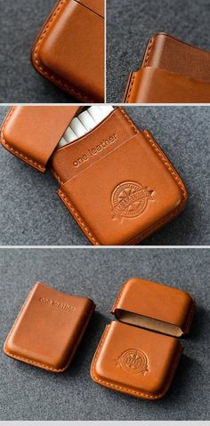 79a10f78f62a Cool Brown Leather Mens 14pcs Cigarette Holder Case Cool Custom Cigare –  iChainWallets