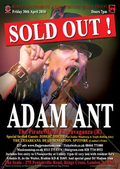 Adam Ant 'the Pirate Metal Extravaganza' and Adam Ant Adam Ant Pirate Metal Extravaganza London Pride, Adam Ant, Tour Posters, Ants, Flyers, Pirates, Jokes, Metal, Image