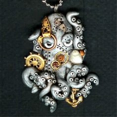 Steampunk Octopus Necklace Polymer Clay Jewelry by Freeheart1, $32.00