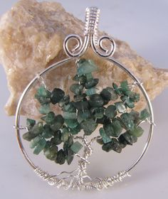 Emerald Tree of Life Pendant May Birthstone by EvaLineJewelry