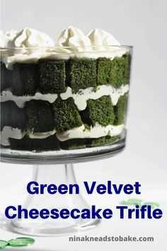 This green velvet cheesecake trifle has layers of green velvet cake and whipped cream cheese with Irish cream liquor. This easy dessert is perfect for St. Green Velvet Cake, My Recipes, Baking Recipes, Irish Cream Liquor, Easy Desserts, Dessert Recipes, Cheesecake Trifle, Whipped Cream Cheese, Savoury Baking