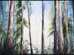 Light in a Forest Watercolors Painting Tutorial - YouTube