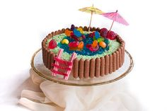 swimming pool cake (vanilla + chocloate + jelly + candy)  very interesting...