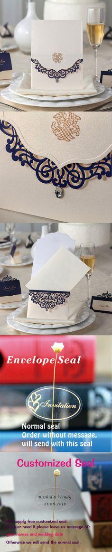 100 pcs,Vertical Beige Laser Cut Blue Flower with Rhinestone Wedding Invitations Cards Laser Cut Flower