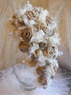 Burlap & Lace Bridal Cascade Bouquet, Handmade of burlap roses, babies breath, ivory organza and lace, wheat and pearls. Made to order.