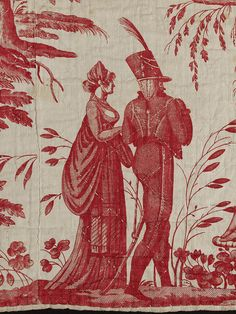 Waterloo fashions (circa 1815-20) ~ beautiful replicated on this red & white toile fabric