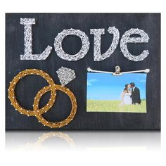 Wedding Rings Picture Frame String Art Kit Greatgift idea for those crafters you know. Or do-it-yourself for a friend. Materials: The DIY Kit's 16″ by 12″ wood board is handsanded and handpainted black with distressed white undertones. Every kit includes only the highest quality embroidery floss. And there is ple