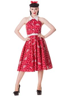 Red Calamity Bandana 50s Dress by Hell Bunny FINAL SALE