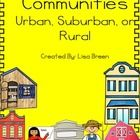 Communities: Urban, Suburban, and Rural is associated with Lesson 3 Communities Large and Small, MacMillan McGraw-Hill Companies, People and Places. 3rd Grade Social Studies, Social Studies Resources, Teacher Resources, Study History, Mcgraw Hill, English Classroom, Community Helpers, Graphic Organizers, Social Science