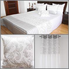 Dekoracyjny biały zestaw do sypialni z szarym ornamentem