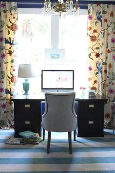 The Inspired Room Home Office // Lulu & Georgia Marine Rug // #homedecor #landgathome #luluandgeorgia
