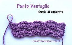 schema per fare punto ventaglio a uncinetto con spiegazioni Crochet Stitches, Knit Crochet, Crochet Crafts, Lana, Crochet Earrings, Arts And Crafts, Knitting, Hobby, File