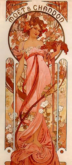 Alphonse Mucha's Moet & Chandon, White Star Champagne Label design would make a lovely draping gown.