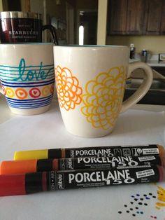 Marigold DIY coffee mug art Porcelaine paint sticks better, longer.