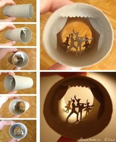 paper art - paper silhouette - Miniatrue silhouette scenes made inside paper towel roll of Ballet - amazing artist - #paperart  #silouette
