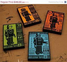 30 OFF SALE Retro Robot  Quelstar Robot Art Blocks  by johnwgolden, $33.60