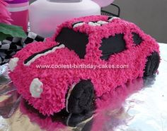 Pink Race Car Cake: I was helping host a baby shower for a friend at work who loves Nascar and had to come up with a cool idea for a race car theme for a baby GIRL! Car Cakes For Boys, Race Car Cakes, Pink Birthday Cakes, Cars Birthday Parties, Car Birthday, Birthday Ideas, Race Car Party, Race Cars, Car Shaped Cake