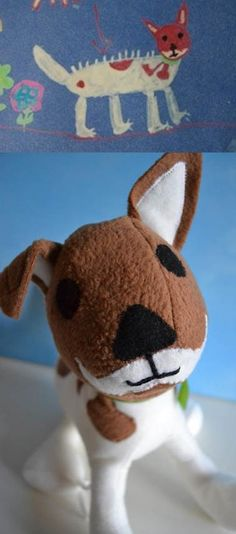 Turning kids children's drawings into plush toys. Toy Created by CHILD'S OWN STUDIO