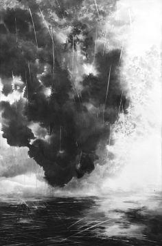 "Saatchi Art Artist: Rikka Ayasaki; Ink 2006 Painting ""Rain in a big city 26(ink wash painting, 90x60cm)"""