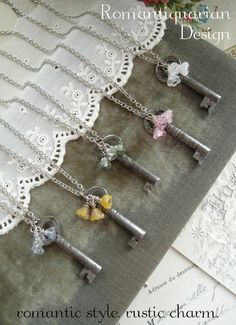 GARDEN GATE  Antique Key Necklace with di RomantiquarianDesign, $32.50