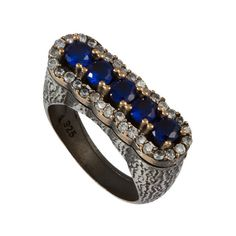 Ottoman Style  Sapphire Sultan Ring With  Zircon by jewelstanbul, $59.00