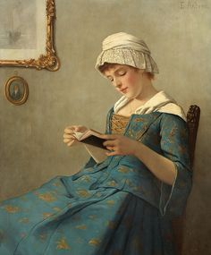 """Young Woman Reading"", by Ernst Anders (German, 1845-1911)"